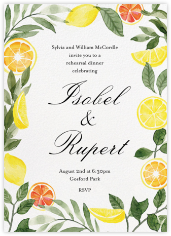 Lemon Leaves - Paper Source - Wedding Weekend Invitations