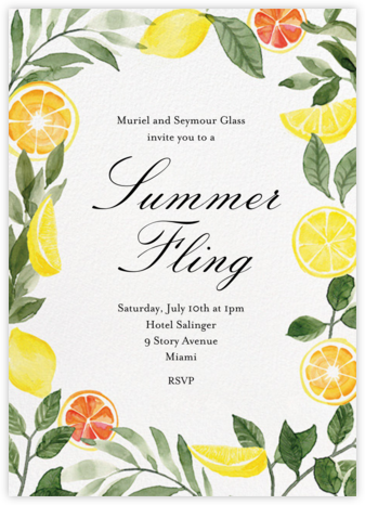 Lemon Leaves - Paper Source - Online Party Invitations