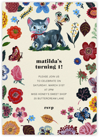 Le Chaton - Nathalie Lété - First Birthday Invitations