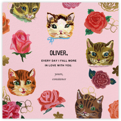 Fêtards (Chatte) - Blush - Nathalie Lété  - Online greeting cards