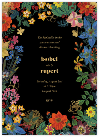 En Fleurs - Black - Nathalie Lété  - Wedding Weekend Invitations