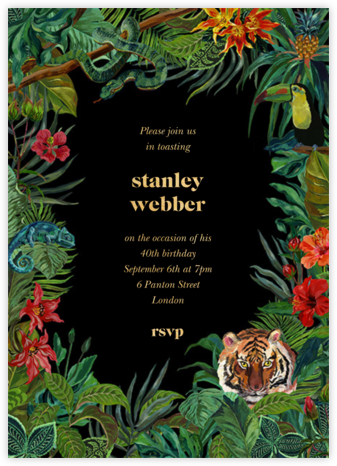 Le Tigre - Black - Nathalie Lété - Adult Birthday Invitations