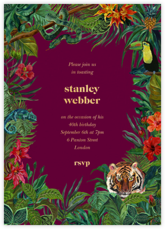 Le Tigre - Merlot - Nathalie Lété - Adult Birthday Invitations