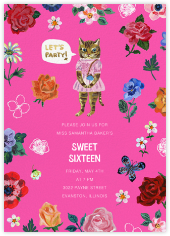 Le Chat (Tall) - Bright Pink - Nathalie Lété - Online Kids' Birthday Invitations