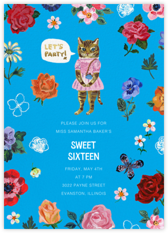 Le Chat (Tall) - Capri - Nathalie Lété - Online Kids' Birthday Invitations