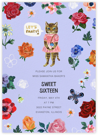 Le Chat (Tall) - Forget-Me-Not - Nathalie Lété - Online Kids' Birthday Invitations