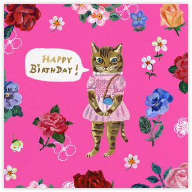 Le Chat (Square) - Bright Pink - Nathalie Lété - Birthday