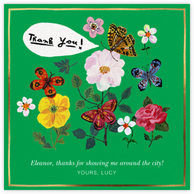 Papillons Dansants - Emerald - Nathalie Lété - Online Thank You Cards