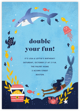 Fishes and Wishes - Dark - Paperless Post - Kids' birthday invitations