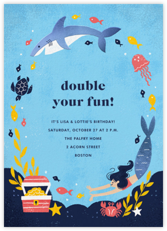 Fishes and Wishes - Light - Paperless Post - Online Kids' Birthday Invitations