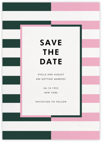 Colorblocked Stripes - Spruce/Carnation - kate spade new york - Save the dates