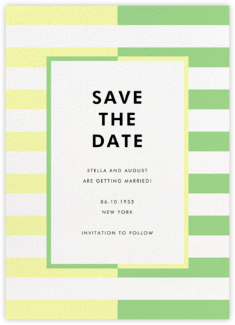 Colorblocked Stripes - Lemon Drop/Meadow - kate spade new york - Save the dates