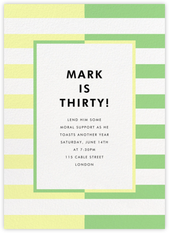 Colorblocked Stripes - Lemon Drop/Meadow - kate spade new york - Adult Birthday Invitations