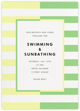 Colorblocked Stripes - Lemon Drop/Meadow - kate spade new york - Summer Party Invitations
