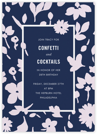 Floral Splash - Navy - kate spade new york - Kate Spade invitations, save the dates, and cards