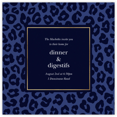 Leopard - Navy - kate spade new york - Fall Entertaining Invitations