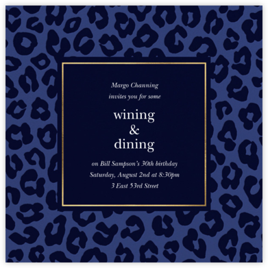 Leopard - Navy - kate spade new york - Adult birthday invitations