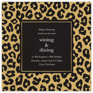 Leopard - Caviar - kate spade new york - Adult Birthday Invitations