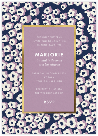 Wild Flora - Lilac - kate spade new york - Bat and Bar Mitzvah Invitations