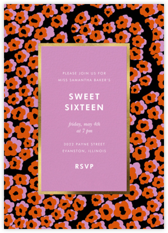 Wild Flora - Carnation - kate spade new york - Sweet 16 invitations