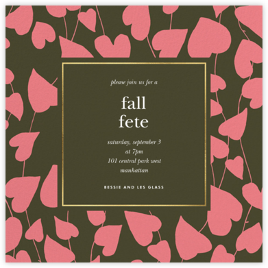 Climbing Hearts - Forest Green - kate spade new york - Autumn entertaining invitations