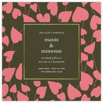 Climbing Hearts - Forest Green - kate spade new york - Bachelorette party invitations