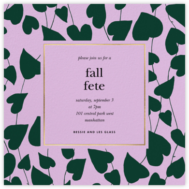 Climbing Hearts - Hydrangea - kate spade new york - Fall Entertaining Invitations