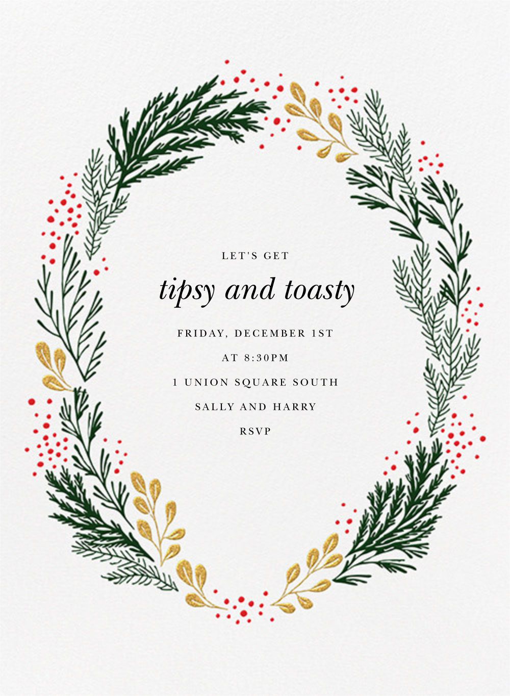 Winter Garden I (Invitation) - Gold/Green - Paperless Post - Company holiday party
