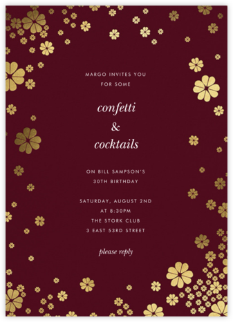 Clover and Over - Merlot - kate spade new york - Adult Birthday Invitations