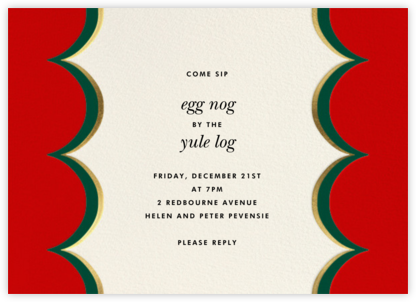 Intarsia Scallop - Red - kate spade new york - Holiday invitations