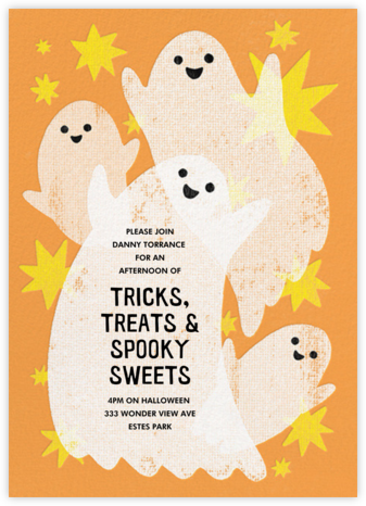 Glowing Ghosts - Paperless Post - Halloween invitations