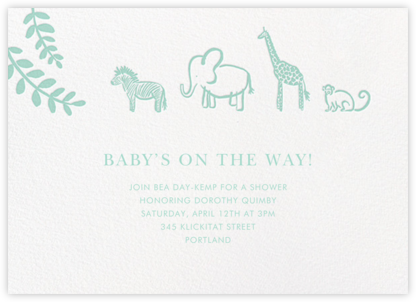 Form a Line - Linda and Harriett - Elephant Baby Shower Invitations