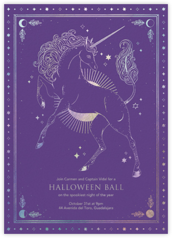 Unicorn Spell - Amethyst - Paperless Post - Halloween invitations
