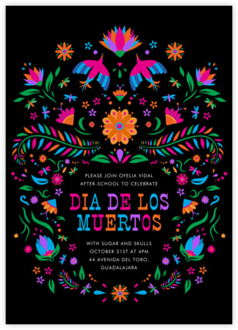 Marigolds at Night - Paperless Post - Día de los Muertos invitations