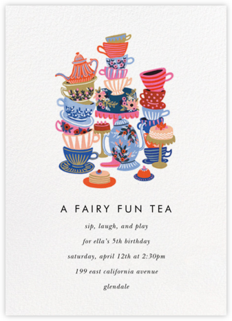 Teacups - Rifle Paper Co. - Online Kids' Birthday Invitations