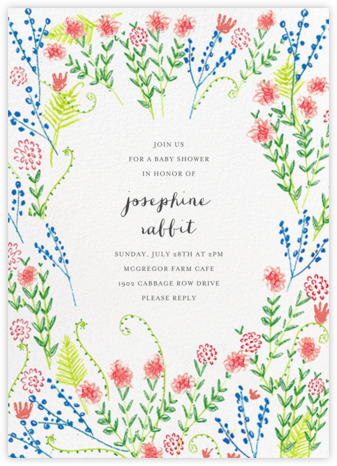 Penciled Garden - Mr. Boddington's Studio - Online Baby Shower Invitations