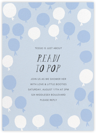 Up in the Air - Blue - Mr. Boddington's Studio - Baby shower invitations
