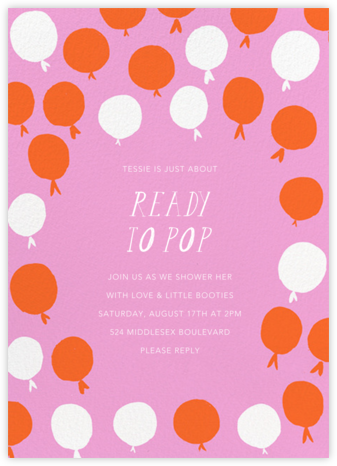 Up in the Air - Mauve - Mr. Boddington's Studio - Baby shower invitations