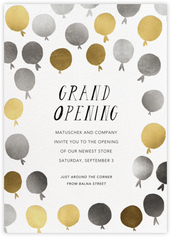 Up in the Air - Metallic - Mr. Boddington's Studio - Launch Party Invitations