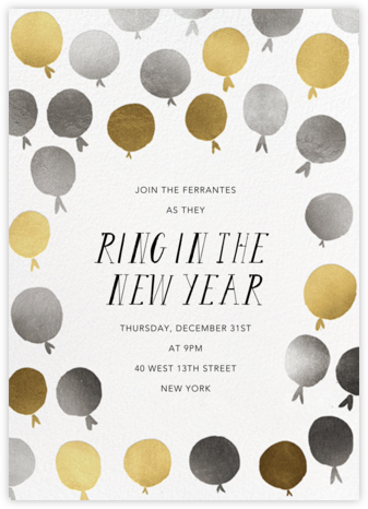 Up in the Air - Metallic - Mr. Boddington's Studio - New Year's Eve Invitations
