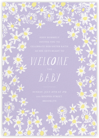 Among the Daisies - Lavender - Mr. Boddington's Studio - Baby shower invitations