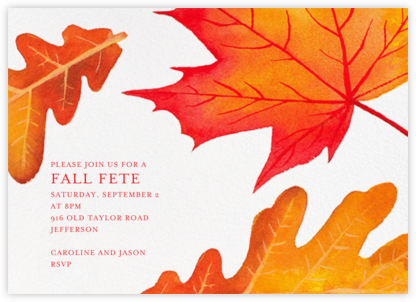 Falling Leaves - Paperless Post - Autumn entertaining invitations