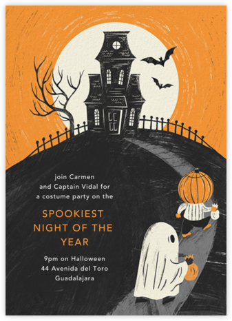 House on a Hill - Paperless Post - Halloween invitations