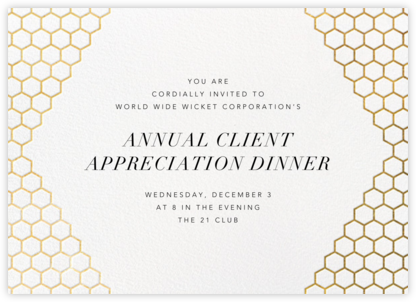 Honeycomb Party - Gold - Paperless Post - Business event invitations