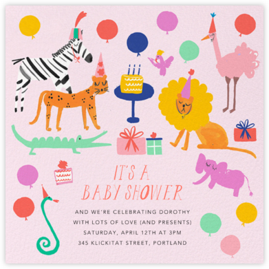 Wild Style (Square) - Blush - Mr. Boddington's Studio - Elephant Baby Shower Invitations