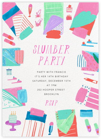 Bring your PJs - Mr. Boddington's Studio - Kids' birthday invitations