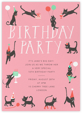 Feline Fine - Blossom - Mr. Boddington's Studio - Online Kids' Birthday Invitations
