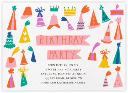 Hats on Parade - Mr. Boddington's Studio - Birthday invitations