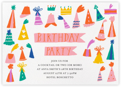 Hats on Parade - Mr. Boddington's Studio - Adult Birthday Invitations