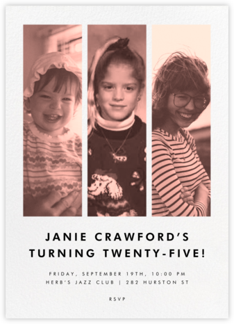 Three Photo Strips - Paperless Post - Adult Birthday Invitations
